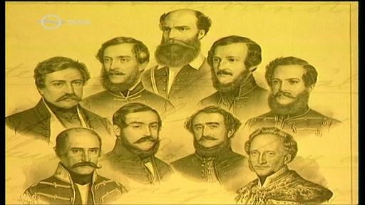 A Batthyányi-kormány (Batthyány Lajos, Deák Ferenc, Kossuth Lajos, Eötvös József, Szemere Bertalan, Mészáros Lázár, Klauzál Gábor, Széchenyi István, Esterházy Pál)